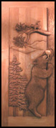 Bear Squirrel Carved Door