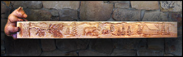 Bear Log Cabin Mantel
