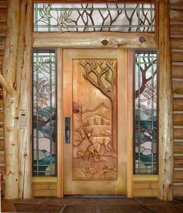 & Carved By Ramsey Carved Wood Doors Wildlife Carving