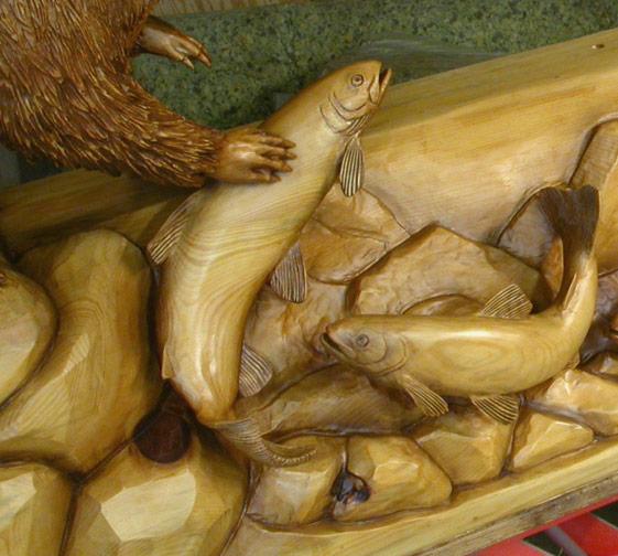 Fish sculpture mantel