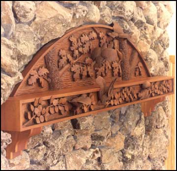 Carved Quail Mantel