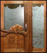 Sleeping Bear Rose Carved Door
