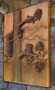 Three little bears wall sculpture