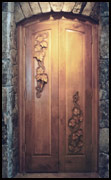 Carved Wine Cellar Door
