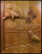 Wolf Bear Carved Doors