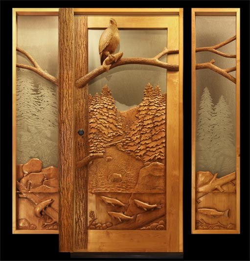 Carved by ramsey wood doors wildlife carving