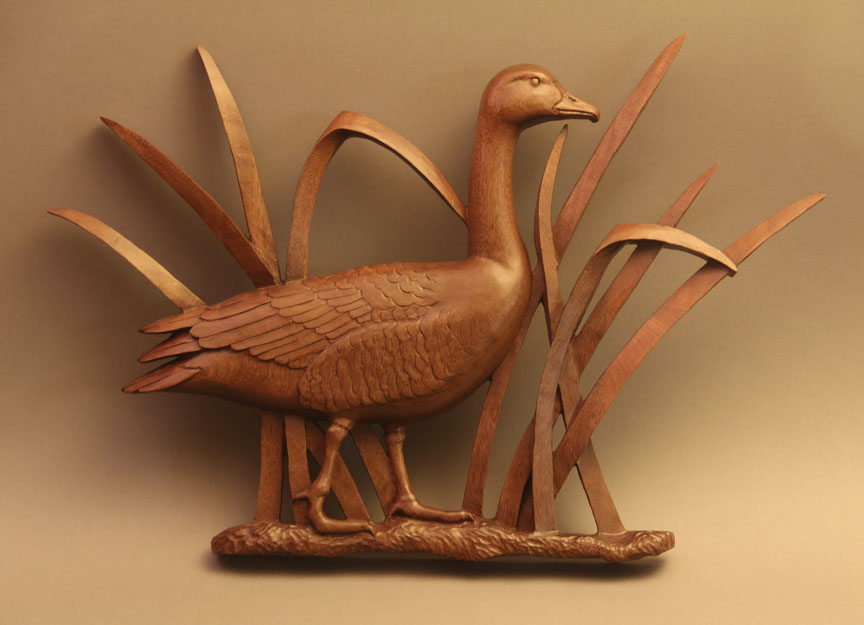 Canada geese wall sculpture woodcarving illustrated