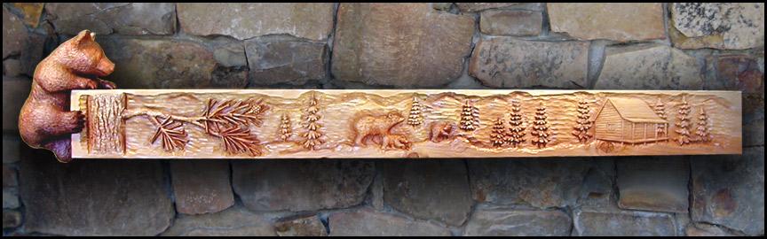 Bear Log Cabin Mantel