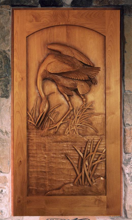 Hummingbird Carved Door